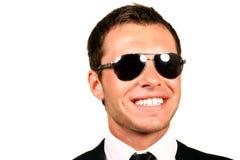 Handsome pilot. Closeup portrait of handsome pilot in glasses stock images