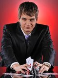 Handsome poker player Royalty Free Stock Photo
