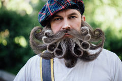 Handsome portrait of a brave Scot with a amazing beard and mustache curls in the Hungarian style. Close-up portrait of a brave Scot with a amazing beard and stock photography
