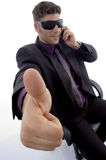 Handsome pose of young attorney with thumbs up Royalty Free Stock Image
