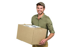 Handsome postman holding pack Stock Photos