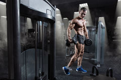 Handsome power athletic bodybuilder training with dumbbells in gym Royalty Free Stock Photos