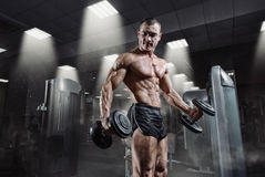 Handsome power athletic bodybuilder in training pumping up muscles Royalty Free Stock Images