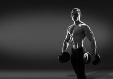 Handsome power athletic man bodybuilder doing exercises with dum Royalty Free Stock Photography