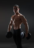 Handsome power athletic man bodybuilder doing exercises with dum Stock Photography