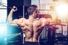 Handsome power athletic man diet training pumping up back muscle Stock Image