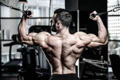 Handsome power athletic man diet training pumping up back muscle stock photography