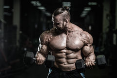 Handsome power athletic man on diet training pumping up muscles. With dumbbell and barbell. Strong bodybuilder with six pack, perfect abs, shoulders, biceps Royalty Free Stock Photos