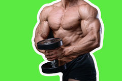 Handsome power athletic man on diet training pumping up muscles. With dumbbell and barbell. Strong bodybuilder with six pack, perfect abs, shoulders, biceps Stock Images