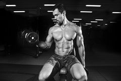 Handsome power athletic man on diet training pumping up muscles stock images