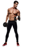 Handsome power athletic man in training pumping up muscles with. Dumbbell. Strong bodybuilder with six pack, perfect abs, shoulders, biceps, triceps and chest Royalty Free Stock Photography