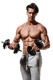 Handsome power athletic man in training pumping up muscles with. Dumbbell. Strong bodybuilder with six pack, perfect abs, shoulders, biceps, triceps and chest Royalty Free Stock Photo