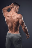 Handsome power athletic man turned back Royalty Free Stock Photos