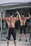 Handsome powerful athletic man doing biceps exercise Stock Images