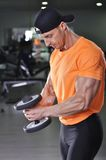 Handsome powerful athletic man performing dumbbell exercise. royalty free stock photography