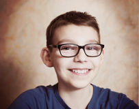 Handsome preteen boy  with correction myopia glasses Royalty Free Stock Image