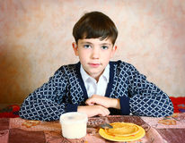 Handsome preteen boy expressive close black and white portrait Royalty Free Stock Photo