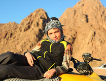 Handsome preteen boy on quad bike safari trip Royalty Free Stock Photos