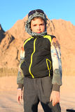 Handsome preteen boy on safari trip in the egyptian desert Royalty Free Stock Photography