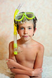 Handsome preteen boy with snorkeling mask and tube Royalty Free Stock Photography