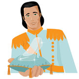Handsome prince offers glass slipper Royalty Free Stock Photo
