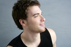 Handsome profile portrait young man face Stock Image