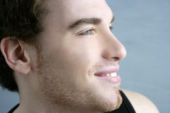 Handsome profile portrait young man face Stock Images
