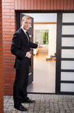 Handsome realtor during his work Stock Photos