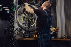 Handsome redhead male in a jeans coverall, working with a bicycle wheel in a repair shop. A worker removes the bicycle. A handsome redhead male in a jeans Stock Images