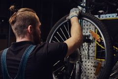 Handsome redhead male in a jeans coverall, working with a bicycle wheel in a repair shop. A worker removes the bicycle. A handsome redhead male in a jeans Royalty Free Stock Photo