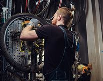 Handsome redhead male in a jeans coverall, working with a bicycle wheel in a repair shop. A worker removes the bicycle. A handsome redhead male in a jeans Royalty Free Stock Images