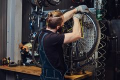 Handsome redhead male in a jeans coverall, working with a bicycle wheel in a repair shop. A worker removes the bicycle. A handsome redhead male in a jeans Stock Photo