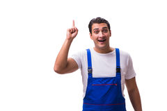 The handsome repairman wearing blue coveralls on white Stock Image