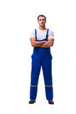 The handsome repairman wearing blue coveralls on white Stock Photos
