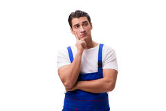 The handsome repairman wearing blue coveralls on white Royalty Free Stock Photo