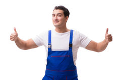 The handsome repairman wearing coveralls isolated on white Royalty Free Stock Photography
