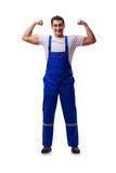 The handsome repairman wearing coveralls isolated on white Stock Photography
