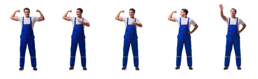 The handsome repairman wearing coveralls isolated on white Stock Photo
