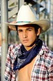 Handsome cowboy with his white cowboy hat royalty free stock images