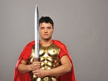Handsome roman legionary soldier. Picture of a Handsome roman legionary soldier Royalty Free Stock Photo