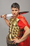Handsome roman legionary soldier. Picture of a Handsome roman legionary soldier Royalty Free Stock Photos