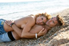 Handsome romantic couple embrace. Stock Photos