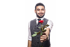 Handsome romantic happy man with rose flower. Royalty Free Stock Image