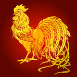 Handsome rooster gold on red background Royalty Free Stock Photos