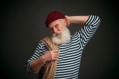 Handsome sailor isolated. Seaman. Royalty Free Stock Image
