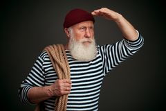 Handsome sailor isolated. Seaman. Stock Photos