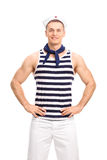 Handsome sailor posing on white background Stock Photos
