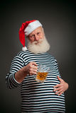 Handsome sailor. Seaman. Santa claus with beer Stock Photography