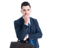 Handsome salesman on white copy space Royalty Free Stock Image