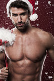 Handsome santa coming to you Royalty Free Stock Photography